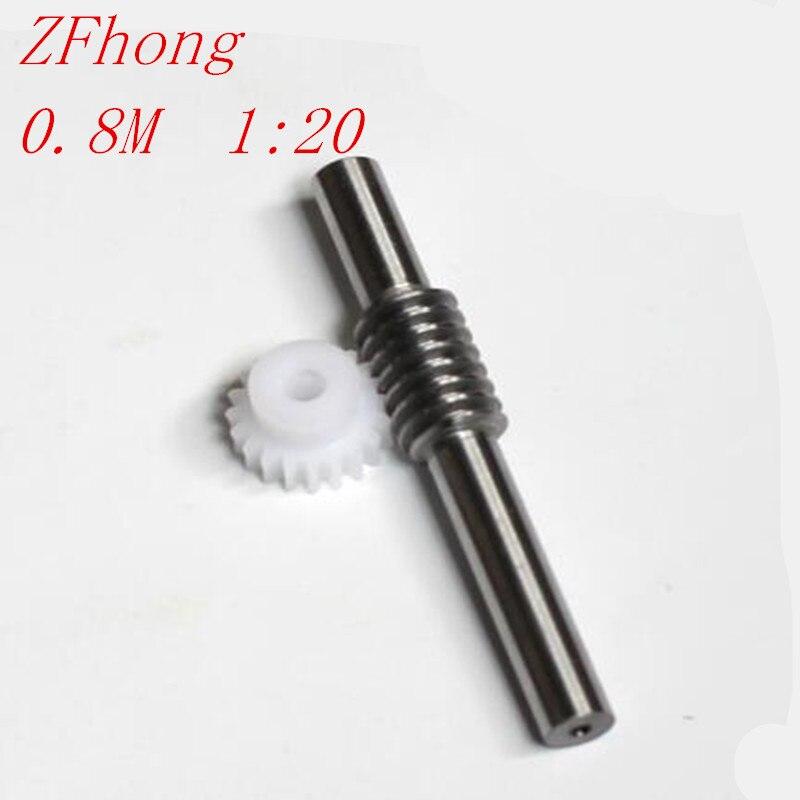 1:20 0.8 Modulus 20 Teeth POM nylon Worm Gear Wheel & 5mm Hole Dia Worm Gear rod Shaft Kits 1:20 Reduction Ratio with Screw