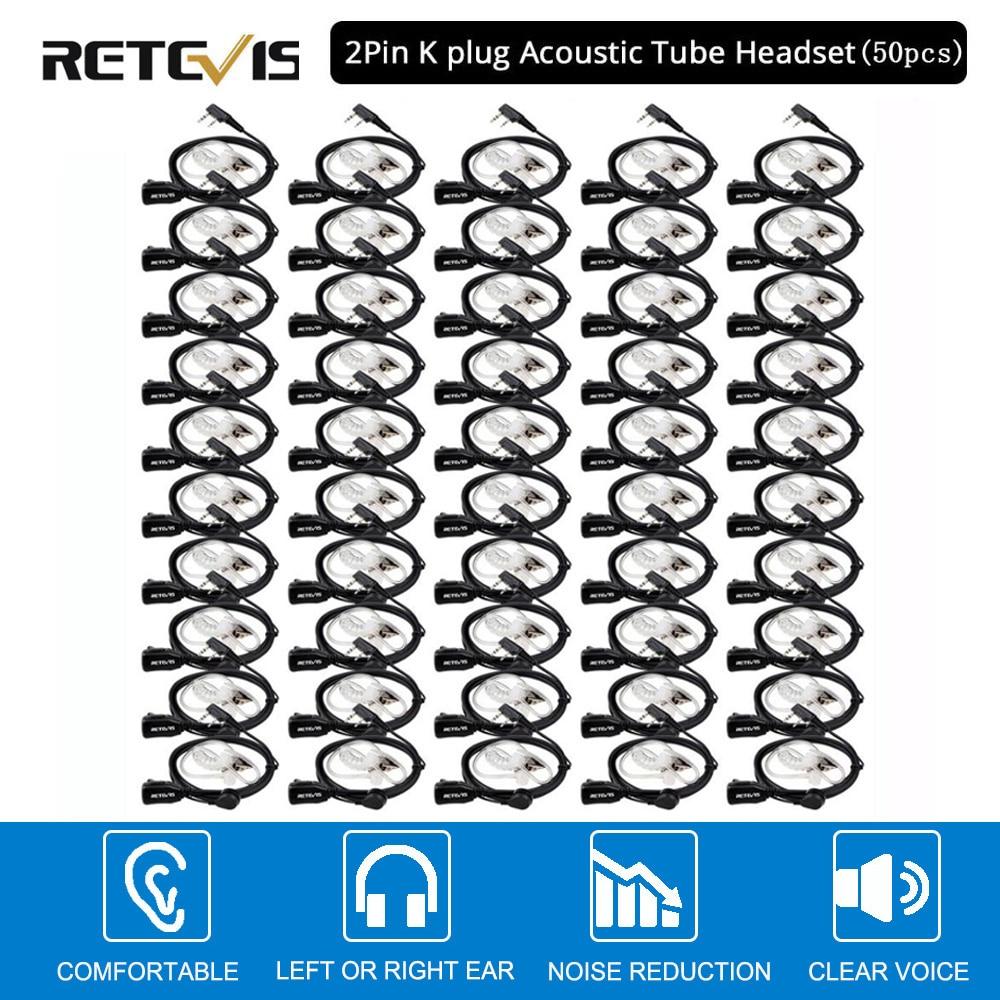 50pcs Retevis PTT Mic Air Acoustic Tube Earpiece Walkie Talkie Headset For Kenwood Baofeng UV-5R Retevis H777 RT22 RT80 C9003A