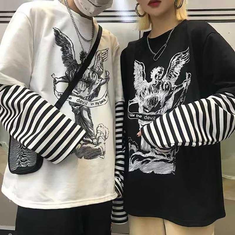NiceMix Spring Harajuku Tshirt Women Patchworked Print Gothic Long Sleeve T-Shirt Women Korean Clothes Sudadera Para Mujer