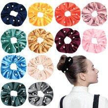 MINHIN Velvet Scrunchies With Pearls Women Girls Elastic Hair Rubber Bands Tie Hair Ring Rope Ponytail Holder Hair Accessories