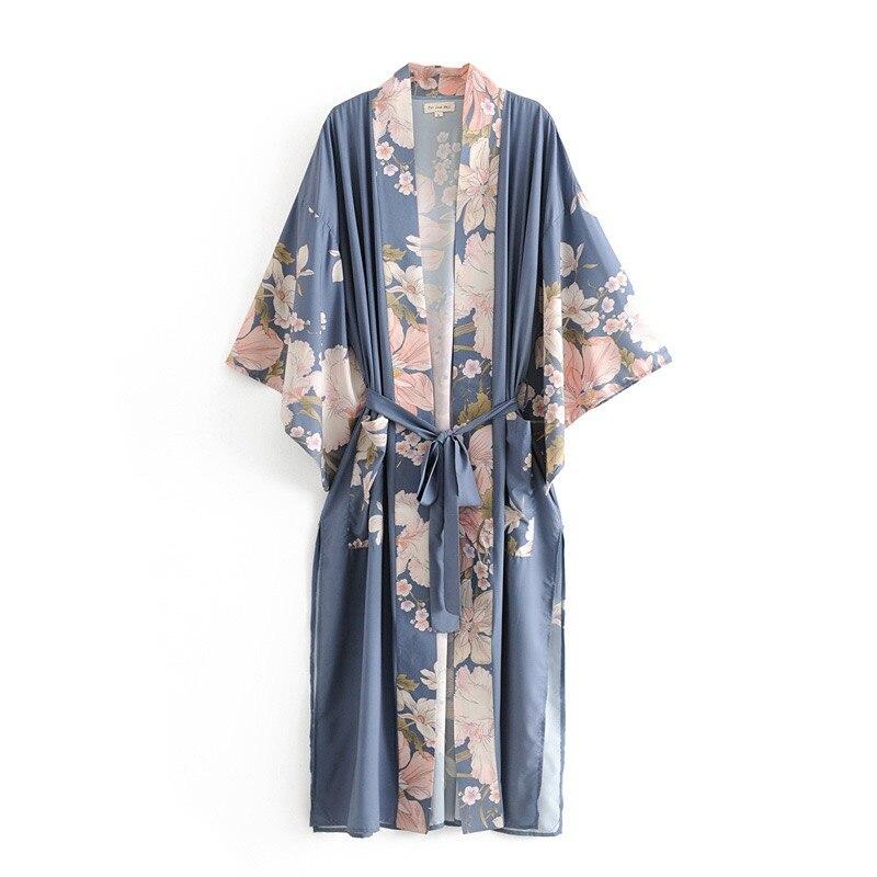 2021 Spring Summer Bohemian V neck Peacock Flower Print Long Kimono Shirt Ethnic New Lacing up Sashes Long Cardigan Loose Blouse