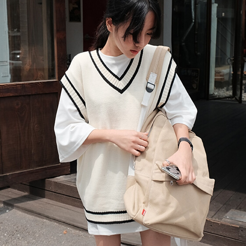 Women Autumn Winter Knit Sweater Vest Pullover V-necked JK College Style Sleeveless Jumper Outwear Students Casual Loose Tops hdy haoduoyi 2018 new arrival beige knit half necked openwork loose pullover sweater autumn winter