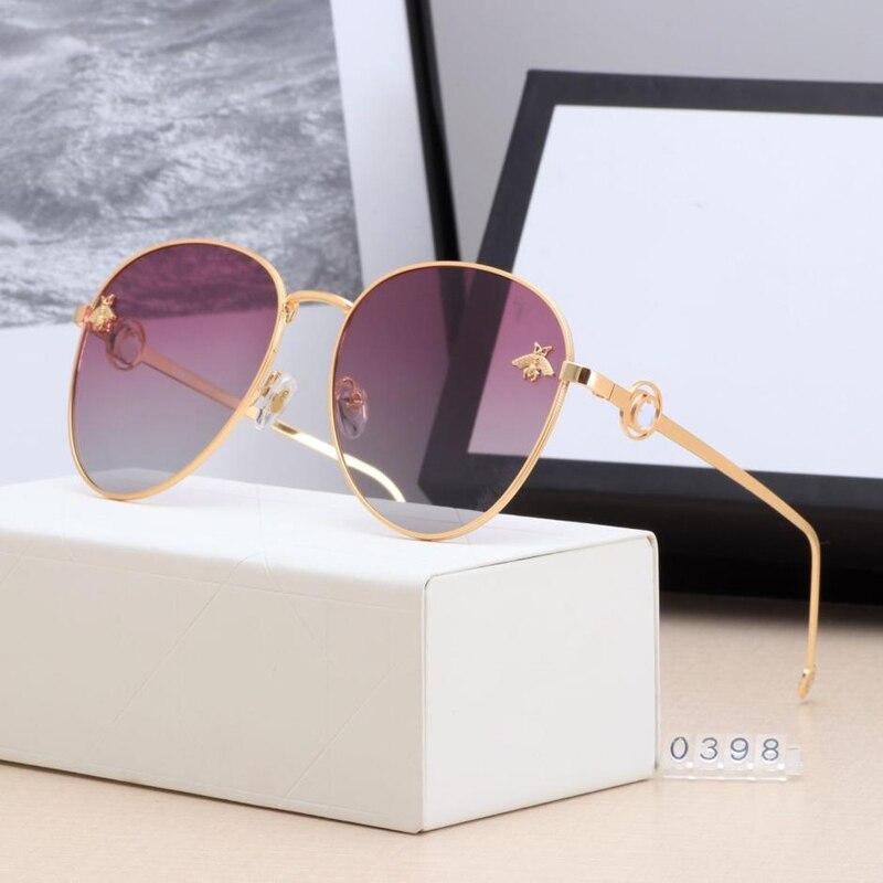 Gafas de sol de lujo para piloto Bee 2020 de gran tamaño, gafas de sol a la moda para mujer, gafas de marca Vintage con marco de Metal, gafas de policía de diseñador para hombre y mujer