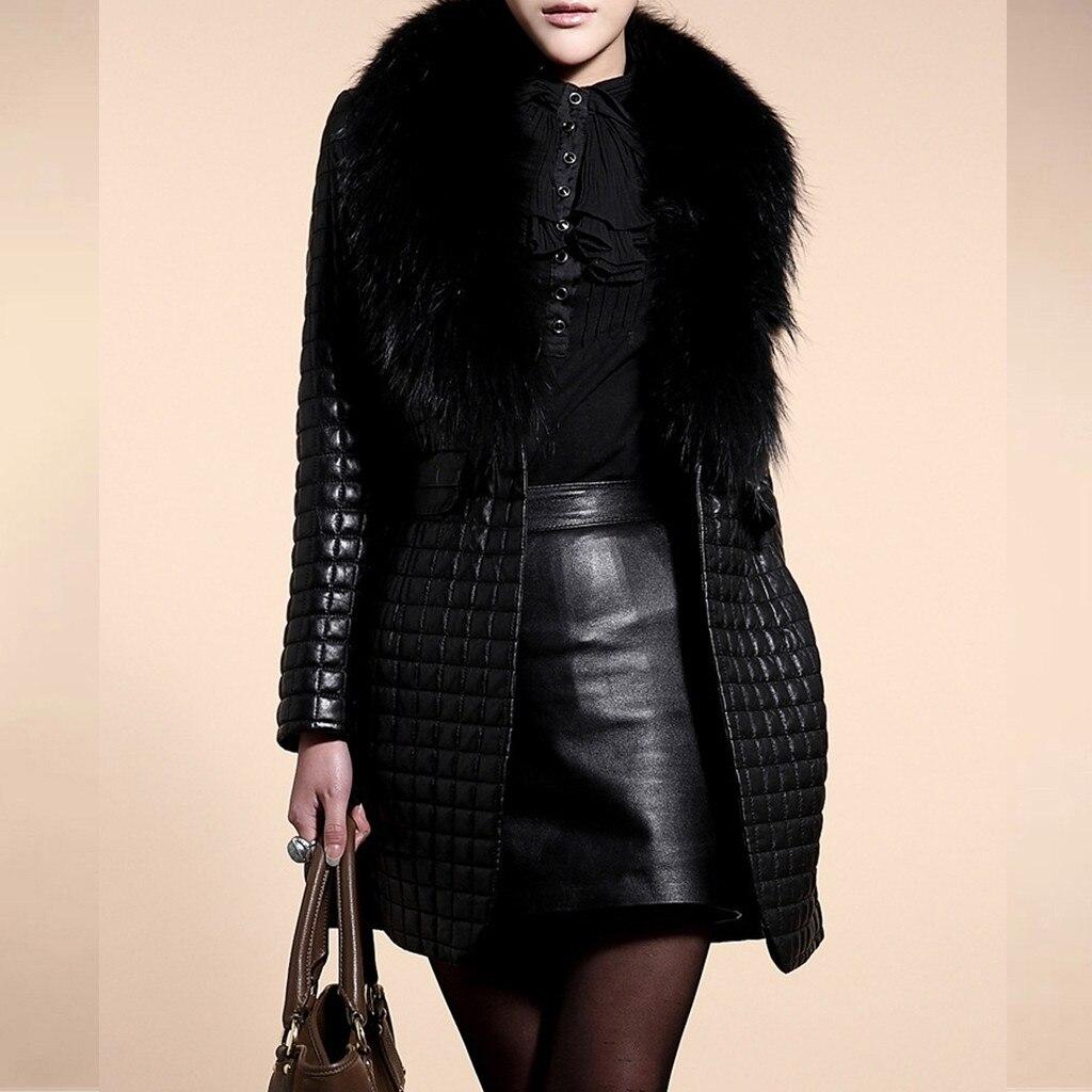 Женская зимняя куртка из искусственной кожи с длинным рукавом, верхняя одежда, длинное пальто из искусственного меха, роскошное Свободное п...