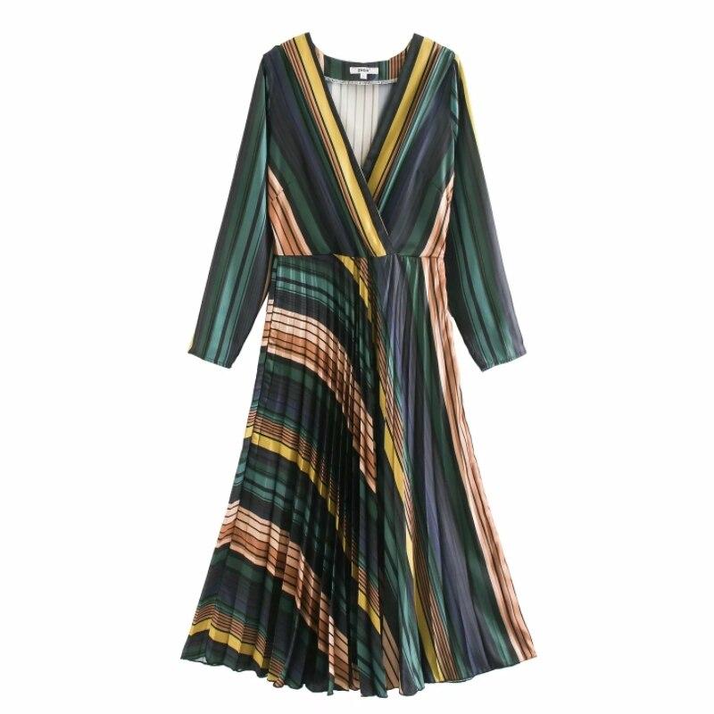 Mujeres vintage Cruz cuello pico patrón de rayas colorido hem plisado midi vestido femenino chic side zipper vestidos de fiesta DS3272