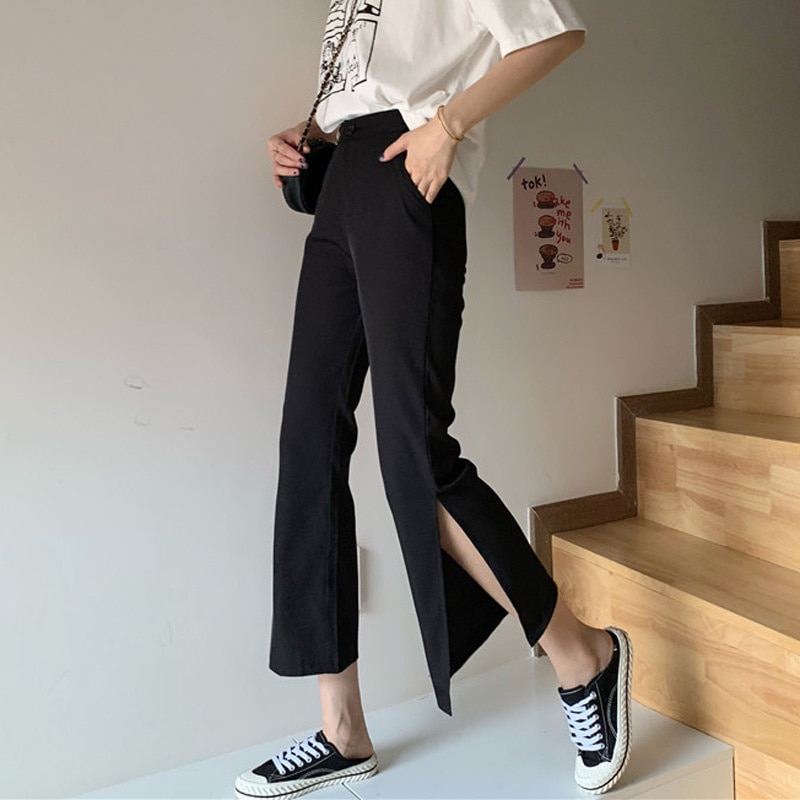Summer 2021 New Split Bootcut Pants Thin High Waist Drooping Small Black Ankle-Length Suit Pants Wom