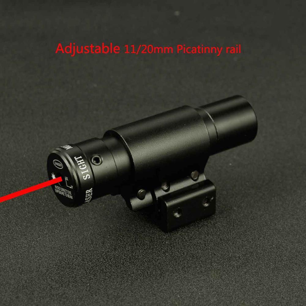 Mira láser táctica de punto rojo para pistola de aire Rifle Weaver ajustable 11/20mm rieles Picatinny riel de montaje para caza Airsoft