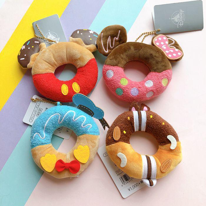 Cartoon Mickey Minnie Donuts Style Small Pendant Keychain Stuffed Toys Plush Birthday Christmas Gift Toy #2431