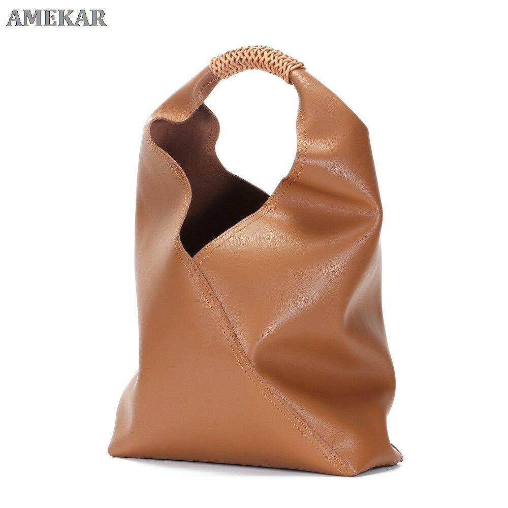 100% جلد طبيعي حقائب كتف أنثى كبيرة الطبيعية لينة بقرة حقيقية النساء حقائب يد جلدية فاخرة السيدات حمل حقائب اليد 2021