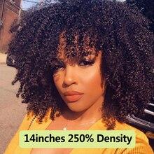 250 densidade afro kinky encaracolado frente do laço perucas de cabelo humano com franja curto bob laço frontal peruca para mulher completa 4b 4c dolago preto