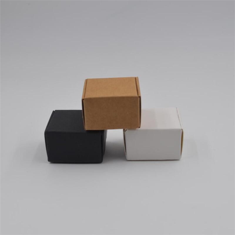 500Pcs 3.7x3.7x2cm White Kraft Paper Box Black Cardboard Candy Box Blank Carton Small Parts Packaging Boxes Wedding Favors Box