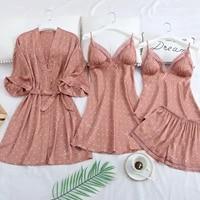 pink print dot wedding robe set sleepwear casual intimate lingerie nightgown nightdress soft homewear home clothing kimono gown