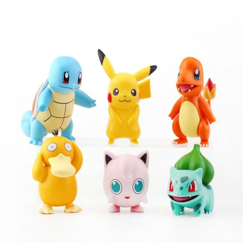 11cm anime pokemon gk pikachu squirtle model statue pvc action figure collectible model toys for children gifts 6 Pcs/Set POKEMON Cute Anime Solid Pikachu Psyduck Pocket Monster Action Figure Pvc Model Pikachu Pokemon Toys Gifts
