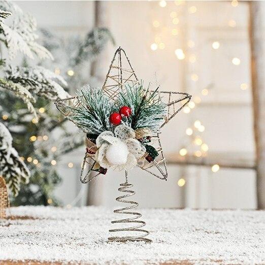 Новогодние украшения, Высота 21 см, Золотая полая железная пятиконечная звезда, украшения для дома, аксессуары для звезд на верхушку рождест...