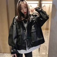 fake two leather jacket women 2021 spring and autumn black pu korean leather jacket motorcycle suit