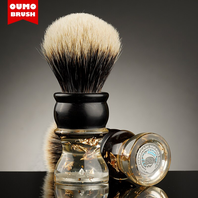 OUMO BRUSH- Master Series 'Golden age' Ebony shaving brush with SILK/ACE shaving brush knot