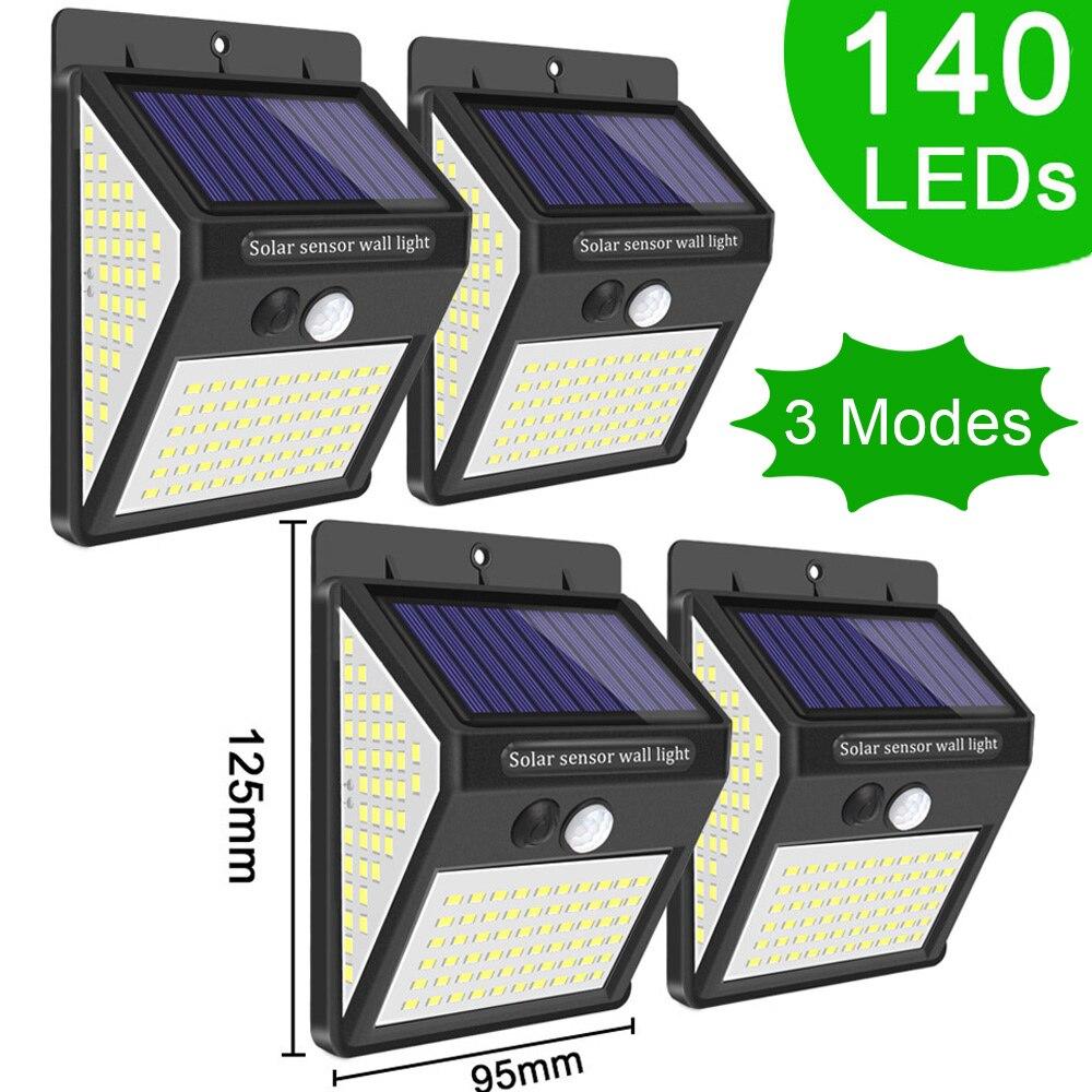 3Mode Waterproof 140 LED Solar Motion Sensor Light Outdoor Street for Garden Decor Sunlight Powered