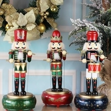 Wooden Nutcracker Soldier Doll Music Box Kids Toy Handicrafts Home Desktop Decoration Xmas Christmas