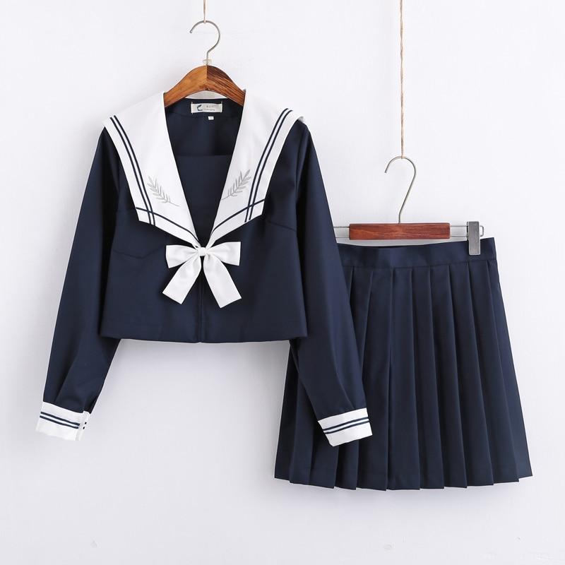 Japanese Plus Size School Uniform Preppy Style Girls Sailor Tops Short Long Skirt Options Suits Lala Cheerleader Clothing