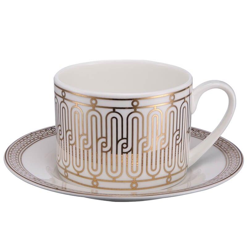 Copo de Café Conjunto de Copos de Chá com Alça Conjunto de Copos de Chá Ouro Criativo Luxo Design Europeu Osso China Porcelana Branca Cc50cc