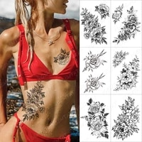 lines roses snake flowers temporary tattoo sticker for men women adult peony waterproof fake henna body art tattoo decal