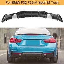 Diffuseur de pare-chocs arrière de voiture   En Fiber de carbone série 4, becquet à lèvres pour BMW F32 F33 M Sport M Tech Only 14-17 435i Cabriolet noir FRP
