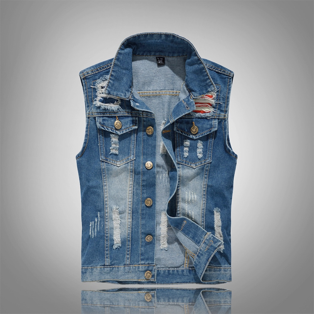 Fashion Spring Autumn style Men's denim vest slim men denim Outerwear Coats Moto Biker blue hole Sleeveless vest for men big  - buy with discount