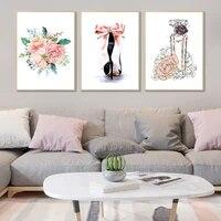 Affiches de mode  parfum  fleurs roses  talons hauts  toile dart mural  peinture aquarelle  imprimes Vogue  decor de maison de salon moderne