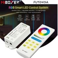 miboxer new fut043a dc12 24v rgb smart led control system 15a 2 4g wireless led strip controller wifi app smart panel remote