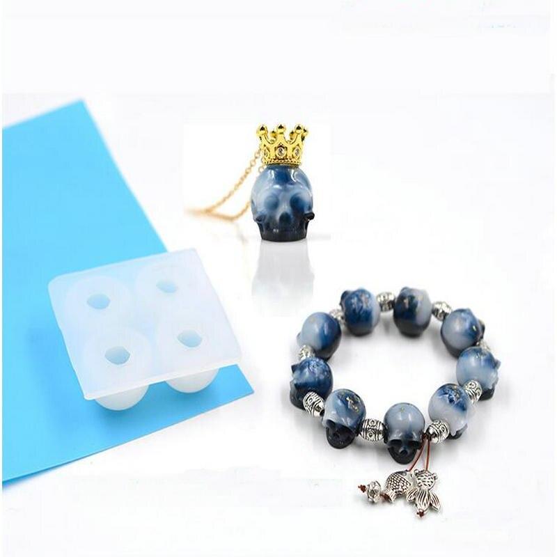 DIY cuentas de resina epoxi con forma de Calavera, molde de silicona, accesorios de joyería, colgantes, abalorios, accesorios de fabricación de pulseras de cabujón hechas a mano
