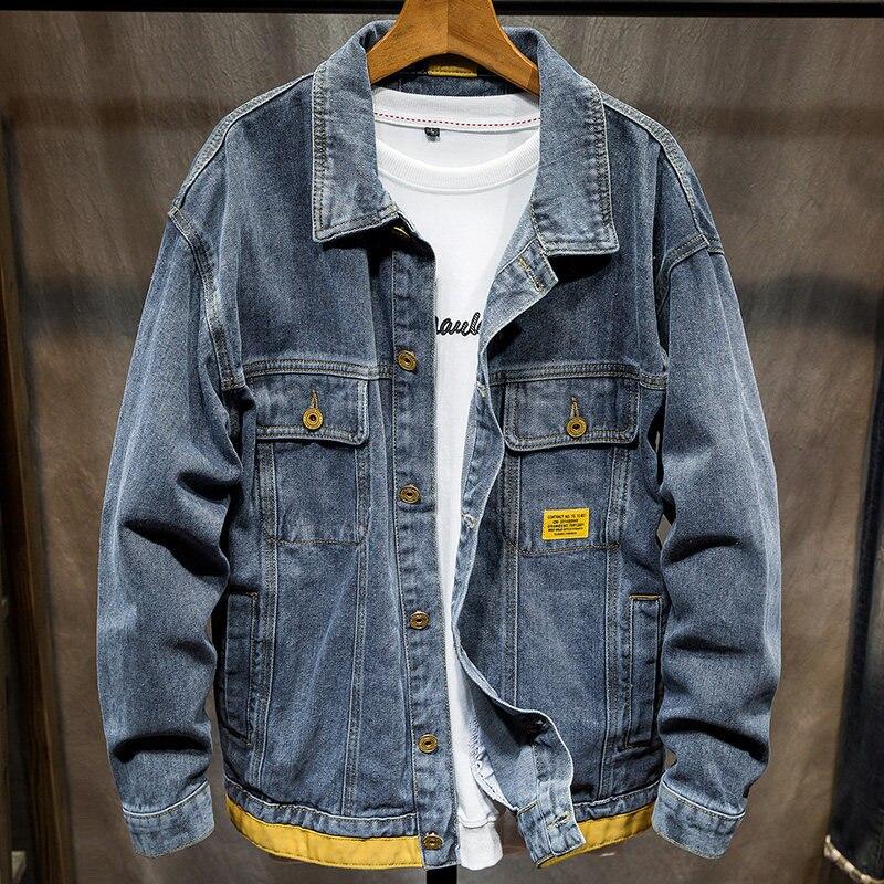 Демисезонная джинсовая куртка в гонконгском стиле Мужская брендовая мужская Куртка красивая джинсовая куртка наряд Мужская модная одежда ...