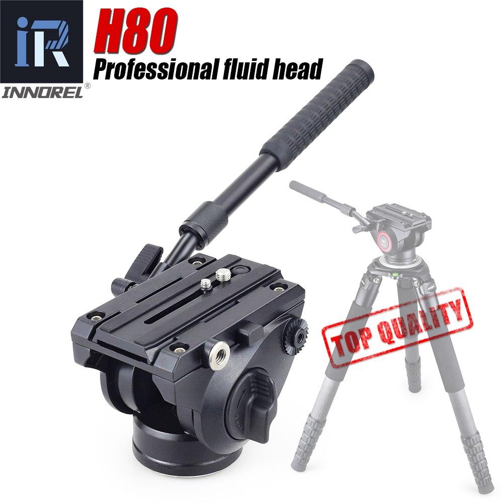 INNOREL H80-رأس ثلاثي القوائم سائل هيدروليكي ، فيديو بانورامي للكاميرا ، حامل أحادي ، مثبت منزلق مع لوحة تحرير سريعة