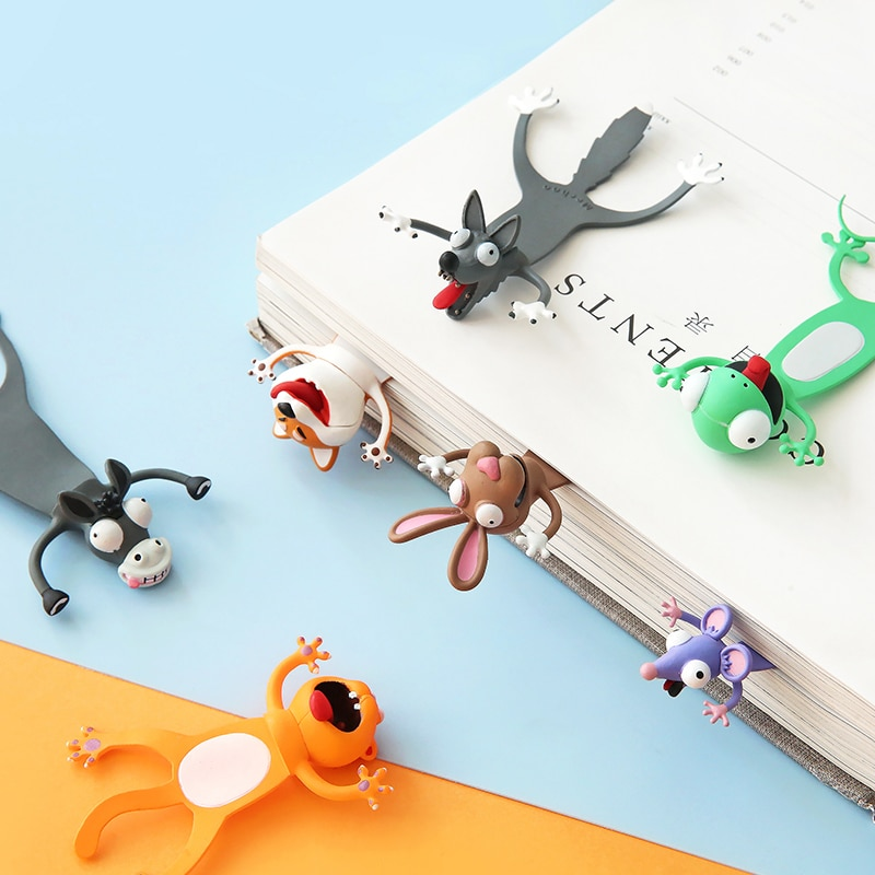Creative 3D Stereo Bookmark Cute Cartoon Animal Marker Kawaii Cat Panda Bookmark Of Pages Kids Gifts