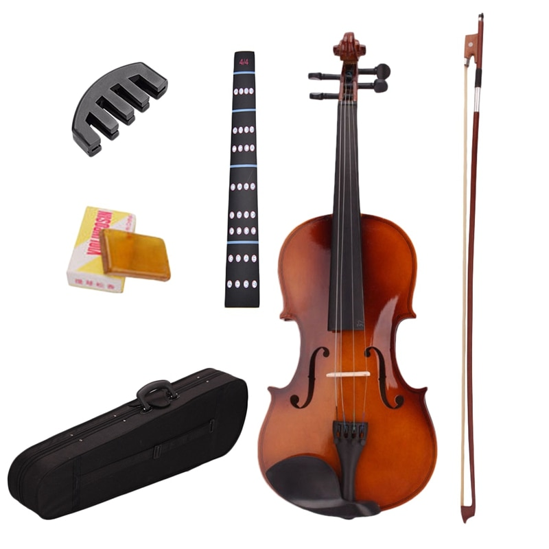 4/4 Full Size Natural Acoustic Violin Fiddle With Case Bow Rosin Mute Stickers Solid wood Violin for music lovers 1 8 kids children natural acoustic violin fiddle with case bow rosin musical instrument gifts