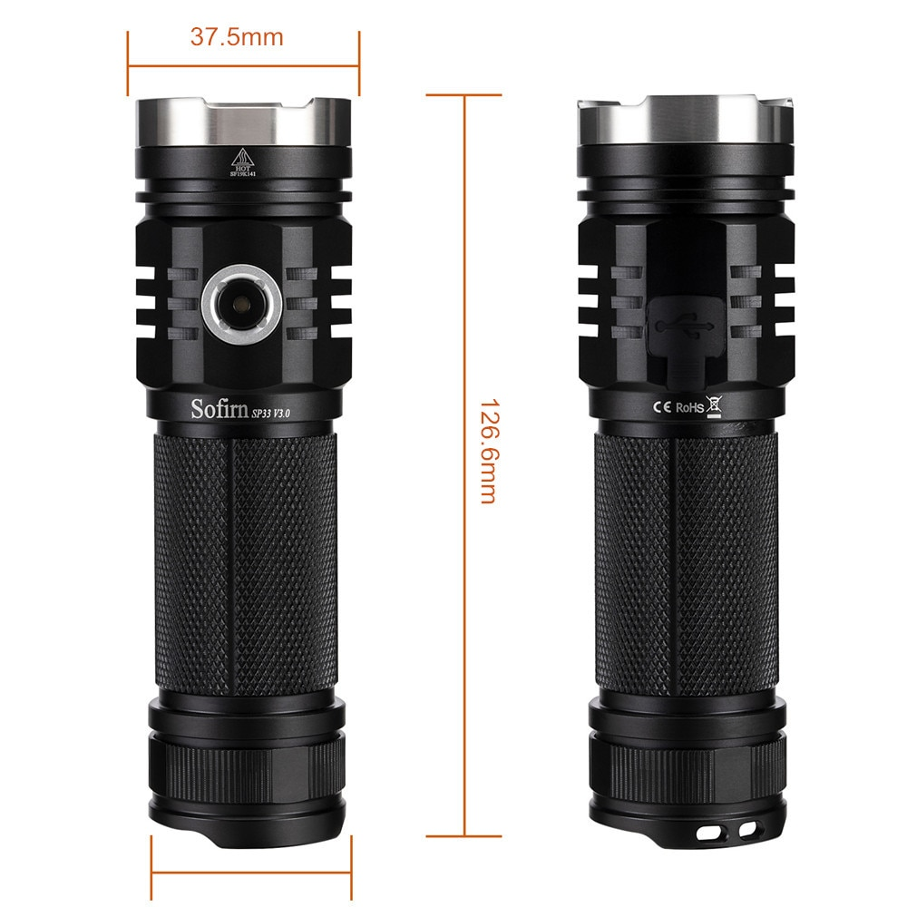 Sofirn SP33V3.0 Powerful LED Flashlight Cree XHP50.2 3500lm USB C 26650 Rechargeable Flashligh Ramping Mode With Power Indicator enlarge