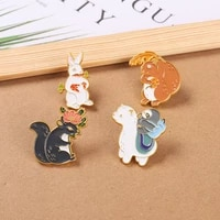 rabbit squirrel enamel pins cartoon forest animal brooches for women cute backpacks clothes lapel pin badge jewery wholesale