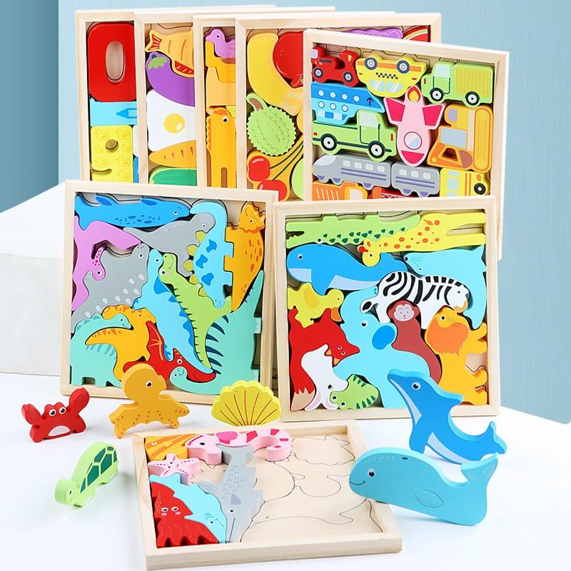 3D Пазлы набор деревянных блоков игрушки фигурки животных мультфильм многослойные металлические головоломки для малышей раннего образован...