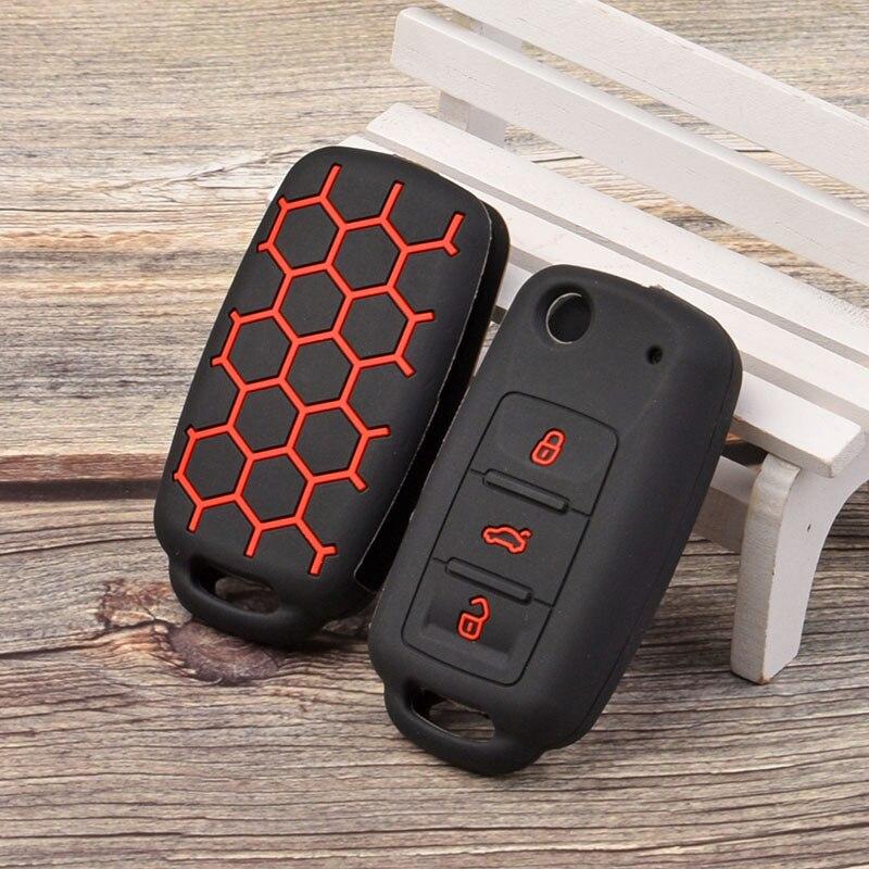 Funda de silicona para la llave del coche, estilo deportivo, funda protectora para la piel, capucha para Skoda rapid Octavia explorador Kodiaq Karoq TSI, llavero con soporte remoto