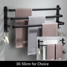 Tuqiu-porte-serviettes mural 30-50 CM   En aluminium, noir, porte-serviettes de salle de bain, porte-serviettes noir mat