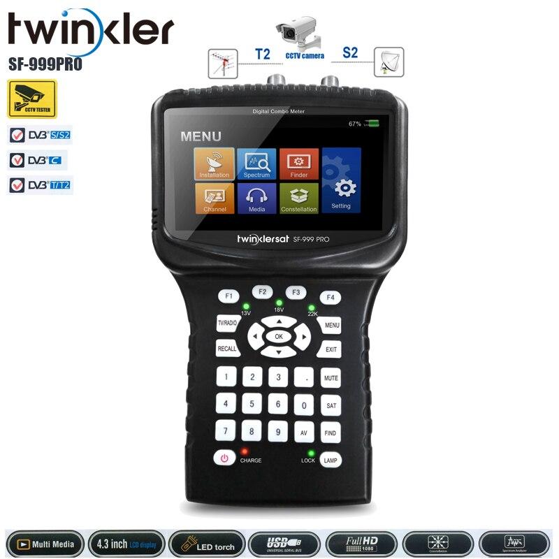 Twinker SF-999pro buscador medidor de satélite Digital HD satfinder por satélite recibidor compatible con DVB S2/DVB T2/DVB C/CCTV Satfinder