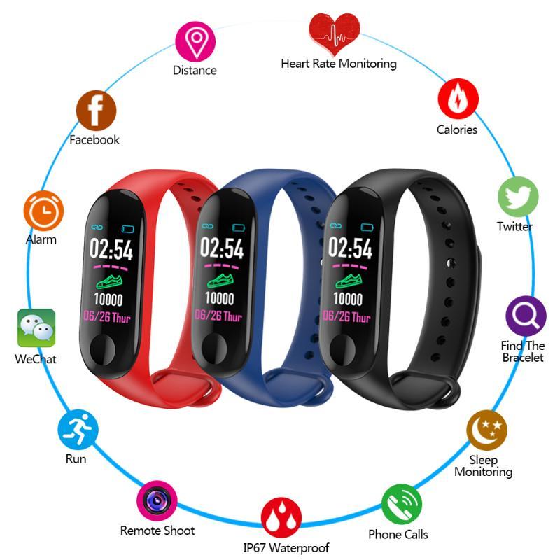Pulsera de Fitness M3 pulsera inteligente Bluetooth Monitor podómetro banda inteligente Frecuencia Cardíaca deportes pulsera impermeable