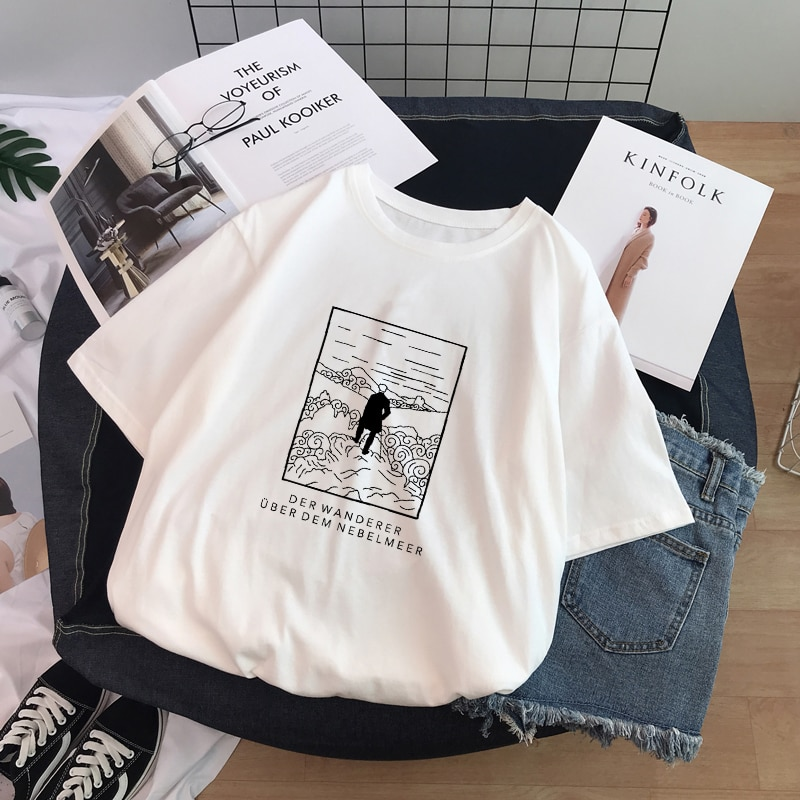 Camiseta de tamanho grande chique allentato o-collo casual harajuku divertente disegno em bianco e nero de van gogh