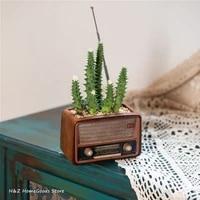 creative retro radio television recorder computer walkman shape ornaments succulent flower pots for home balcony decoration