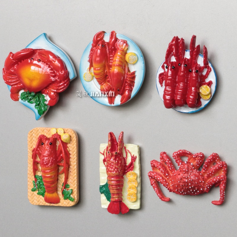 3D Stereo Seafood Big Lobster Hairy Crab Crab Crayfish Refrigerator Magnetic Sticker Kitchen Food Menu Magnet Sticker