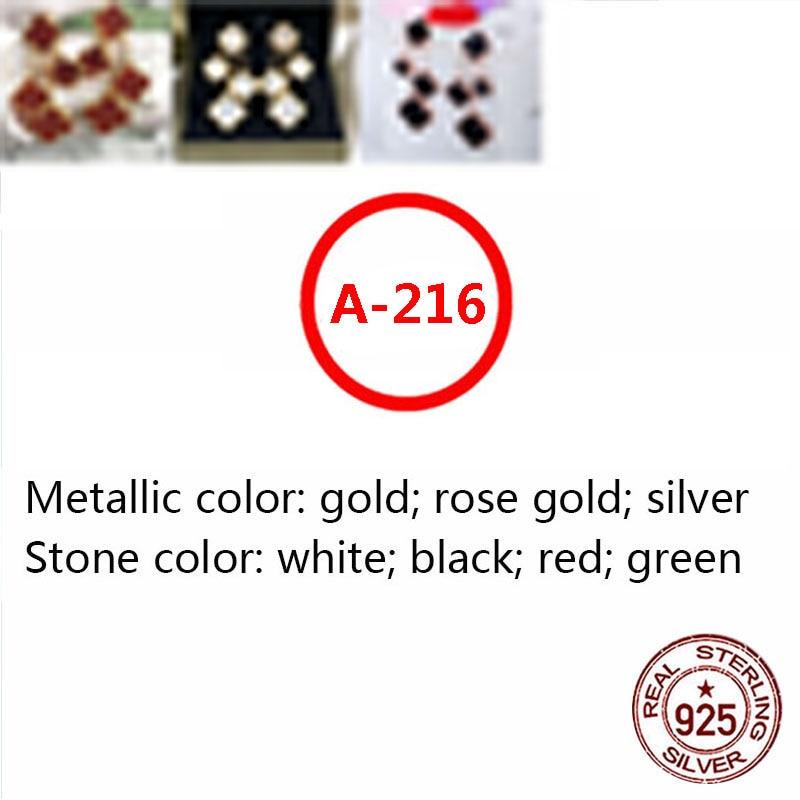 A216 S925 فضة أقراط بسيطة الاسلوب المناسب هيبوالرجينيك أربعة زهرة أربع أوراق البرسيم شكل لإعطاء هدية