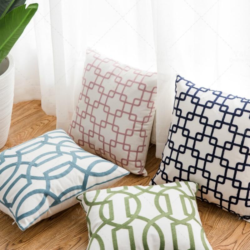Funda de cojín DUNXDECO, funda de almohada decorativa, moderna, Simple, geométrica, estilo chino, Bordado de hilo de algodón, sofá, silla, cojín