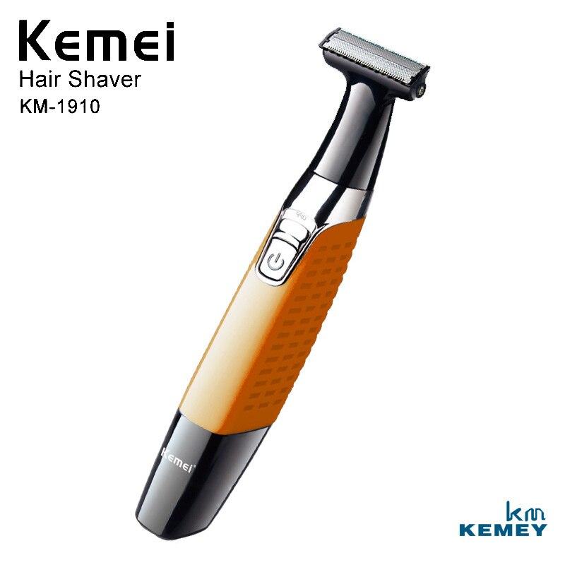 Kemei profissional sem fio barbeador elétrico barba barbeador corpo aparador de pêlos dos homens cuidados faciais KM-1910