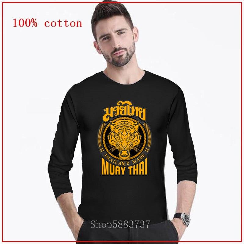 2020 legal muay thai tiger tailândia camiseta para o homem kung fu t camisa dos homens preto roupas de algodão camisetas hip hop topos longo tshirt