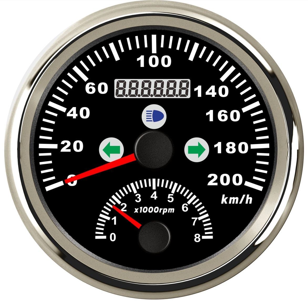 All Black GPS Speedometer 200KMH With Turning Light High Beam Tachometer 8000 RPM Red Led enlarge