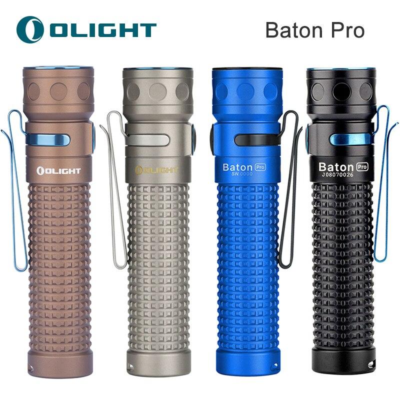 Nowość Olight Baton Pro Black Blue Ti Desert Tan 2000 lumenów przenośna ładowalna latarka LED z bocznym przełącznikiem